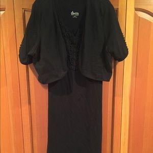 Jersey cotton knit dress with appliqués black XL